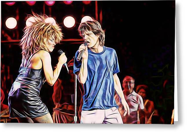 Tina Turner Greeting Cards - Tina Turner and Mick Jagger Collection Greeting Card by Marvin Blaine