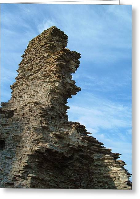 Uther Pendragon Greeting Cards - Tintagel Castle Wall Greeting Card by Richard Brookes