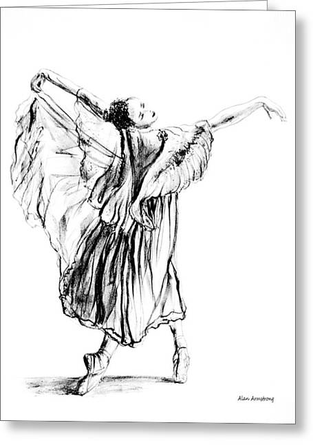 Ballet Dancers Drawings Greeting Cards - Tiny Ballet Dancer Greeting Card by Alan Armstrong