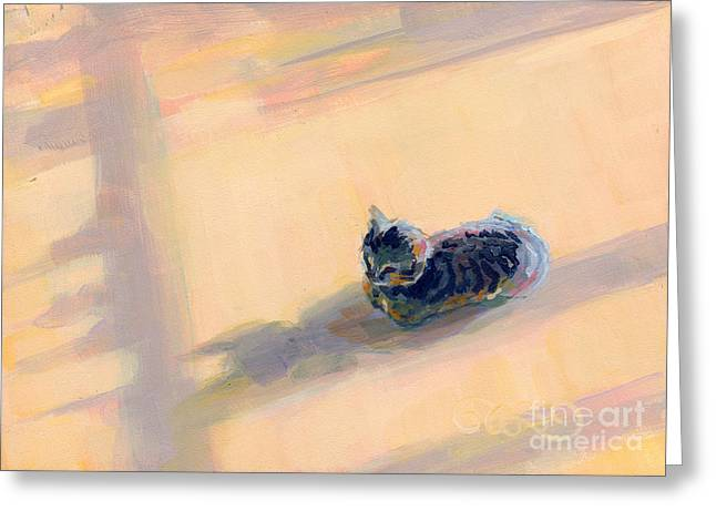 Gray Greeting Cards - Tiny Kitten Big Dreams Greeting Card by Kimberly Santini