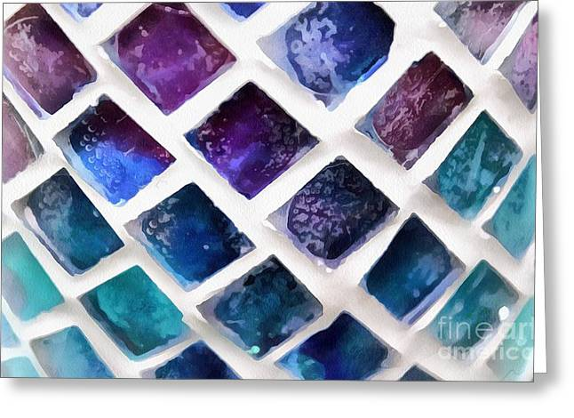 Painted Glass Greeting Cards - Tiny Windows II Greeting Card by Krissy Katsimbras