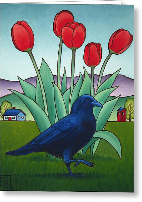 Tip Toe Through The Tulips Greeting Card by Stacey Neumiller