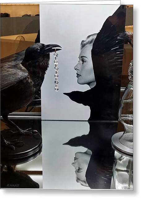 Hedren Greeting Cards - Tippi And The Crow Greeting Card by Rob Hans