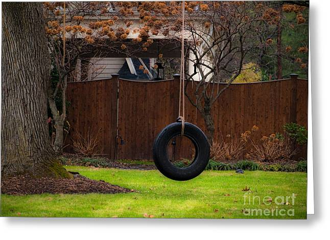 Valerie Morrison Greeting Cards - Tire Swing Greeting Card by Valerie Morrison