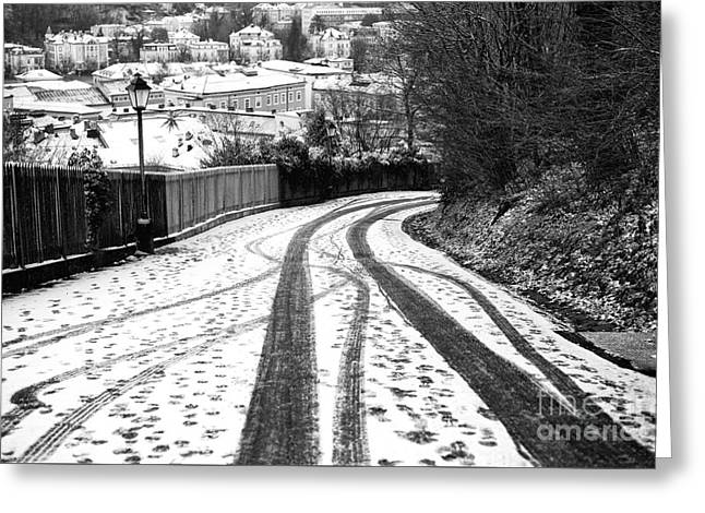 Salzburg Greeting Cards - Tire Tracks in the Snow Greeting Card by John Rizzuto