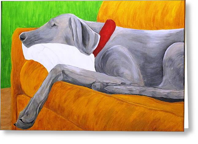 Puppies Paintings Greeting Cards - Tired after Doggy Park Greeting Card by Carolyn Dargevics