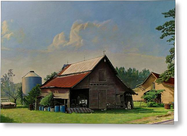 Old Country Roads Paintings Greeting Cards - Tired and Retired Greeting Card by Doug Strickland