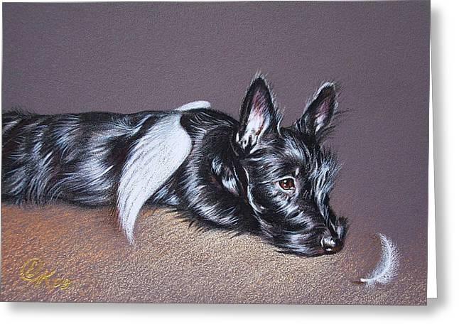 Scottish Terrier Puppy Greeting Cards - Tired angel Greeting Card by Elena Kolotusha