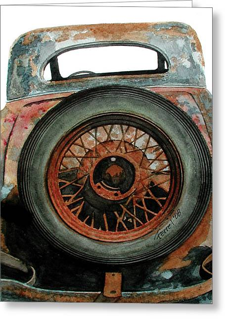 Junk Paintings Greeting Cards - TireD Greeting Card by Ferrel Cordle