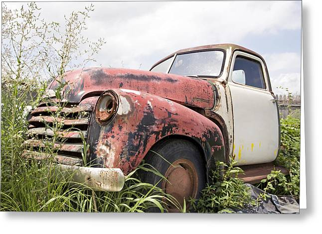 Rusted Cars Paintings Greeting Cards - Tired Greeting Card by Glennis Siverson
