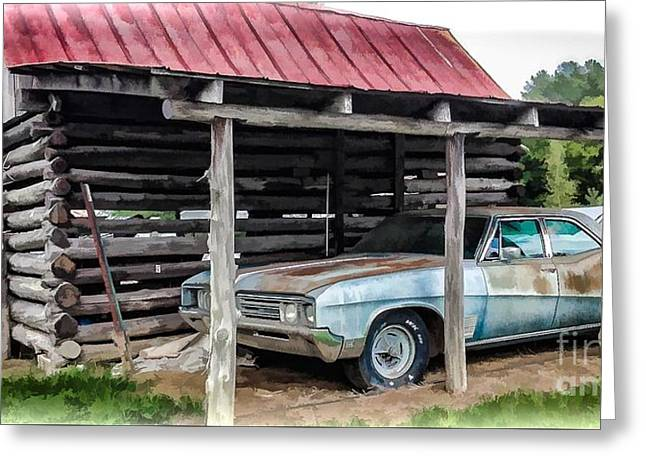 Rusted Cars Greeting Cards - Tired Old Car Greeting Card by Susan Grube