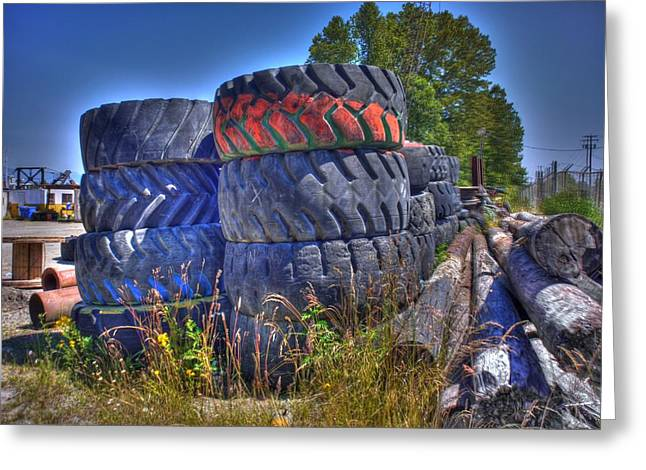 TIRES Greeting Card by LAWRENCE CHRISTOPHER