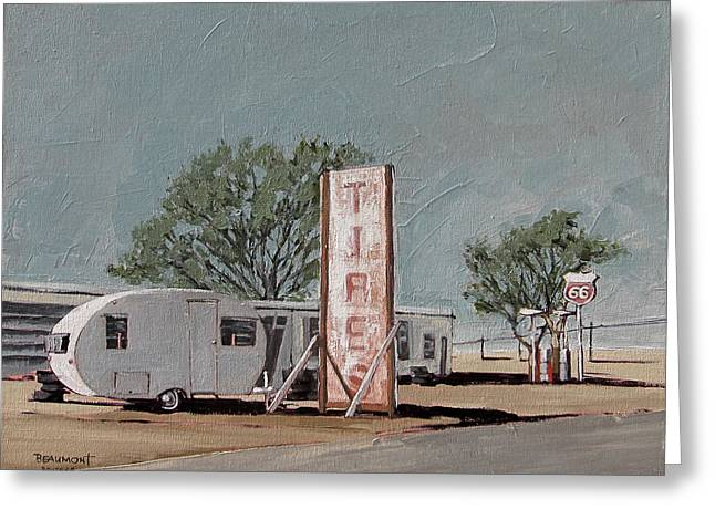 Road Trip Paintings Greeting Cards - Tires Greeting Card by Steve Beaumont