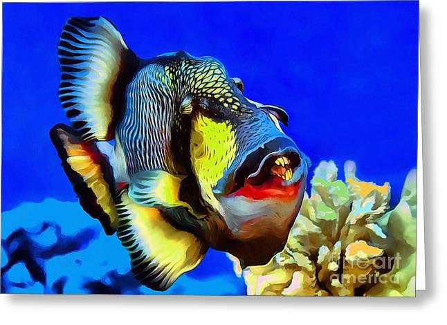 Underwater Photos Greeting Cards - Titan triggerfish Greeting Card by Sergey Lukashin
