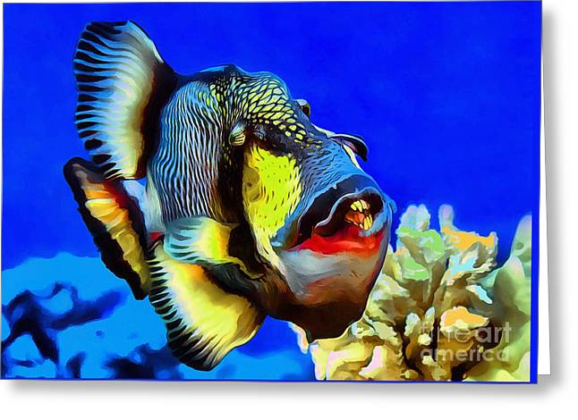 Underwater Photos Paintings Greeting Cards - Titan triggerfish Greeting Card by Sergey Lukashin