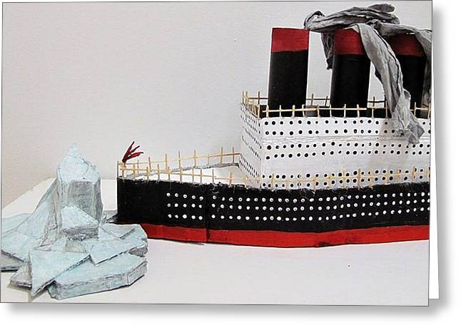 Us History Sculptures Greeting Cards - Titanic and iceberg Greeting Card by William Douglas