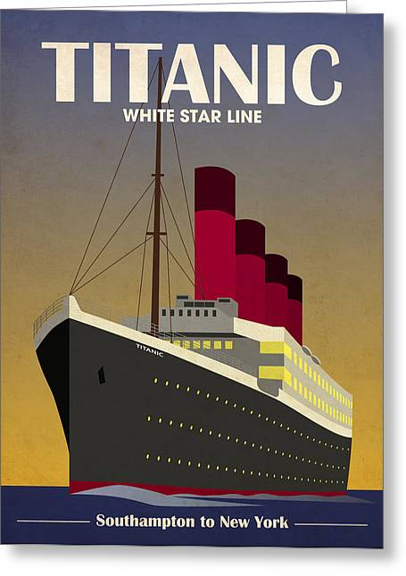 Boat Cruise Digital Greeting Cards - Titanic Ocean Liner Greeting Card by Michael Tompsett