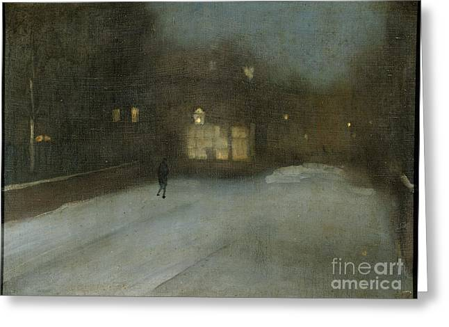 Title Nocturne In Grey And Gold Chelsea Snow Greeting Card by James Abbott