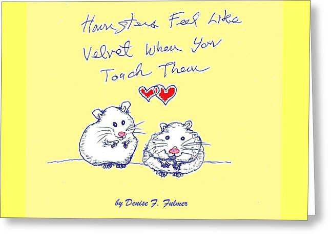 Hamster Drawings Greeting Cards - Title page for hamster book Greeting Card by Denise Fulmer