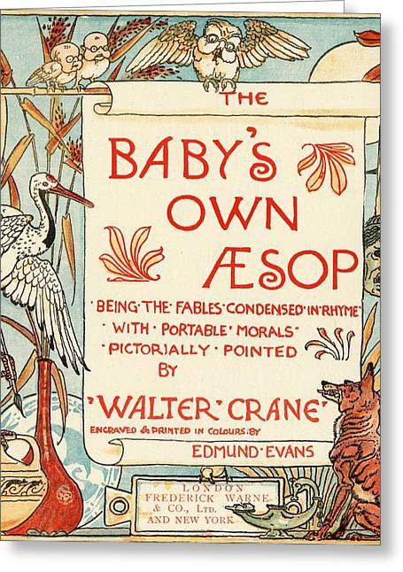 Moral Drawings Greeting Cards - Title Page From The Book Babys Own Greeting Card by Vintage Design Pics