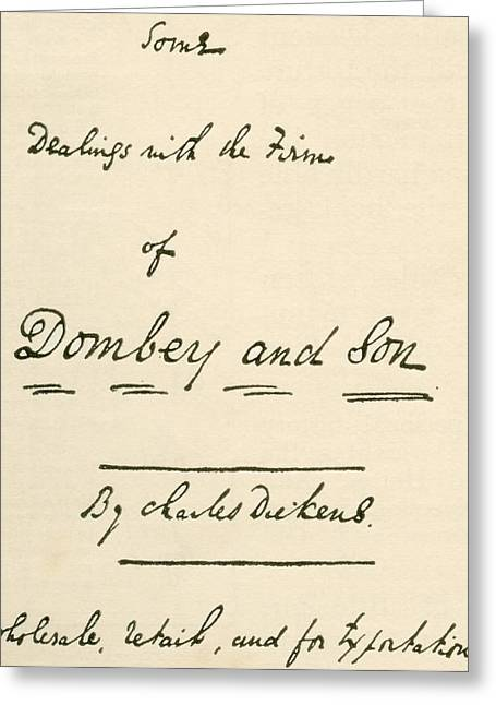 Title Page To Manuscript Of Dombey And Greeting Card by Vintage Design Pics
