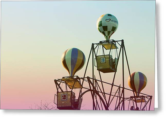 """hot Air Balloon"" Greeting Cards - Tivoli Balloon Ride Greeting Card by Linda Woods"