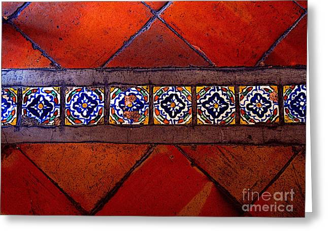 Guadalajara Greeting Cards - Tlaquepaque Tile Study 2 Greeting Card by Olden Mexico