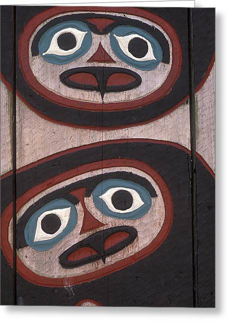 Tlingit Greeting Cards - Tlingit Carved Faces On Chief Shakes Greeting Card by Rich Reid