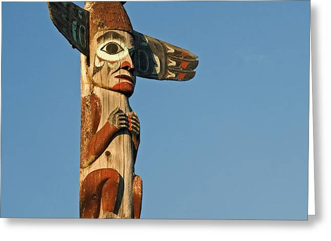Tlingit Totem Pole Greeting Card by Greg Vaughn - Printscapes