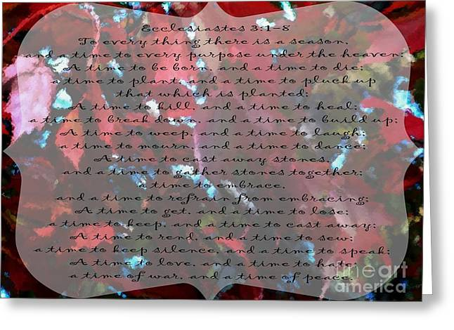 Mahogany Red Greeting Cards - To Everything - Verse Greeting Card by Anita Faye