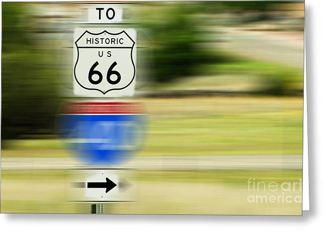 Historical Images Greeting Cards - To Historic U.S. Route 66 Greeting Card by MaryJane Armstrong