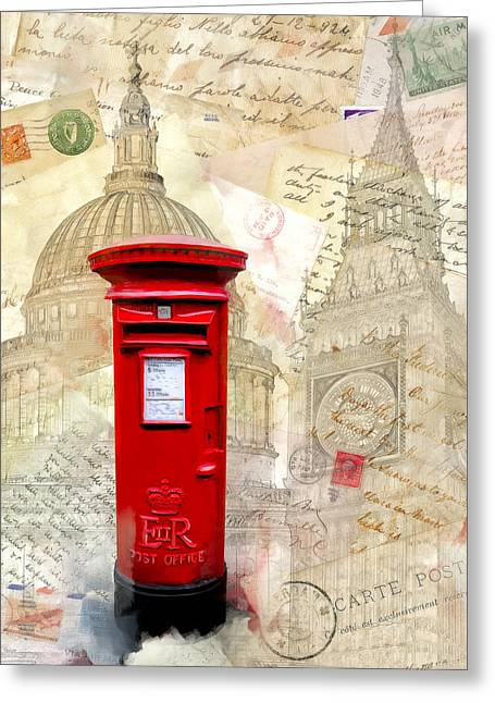 Pillar Box Greeting Cards - To London By Mail - Classic Post Box Greeting Card by Mark E Tisdale