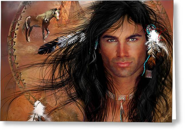 Native American Heroes Greeting Cards - To Love A Warrior Greeting Card by Carol Cavalaris