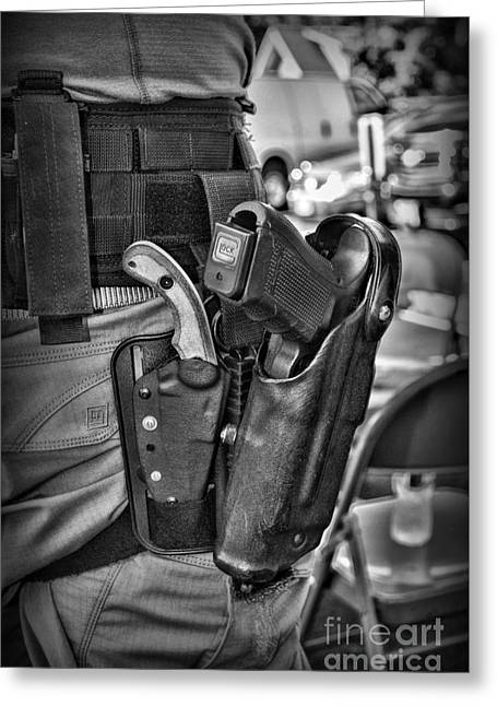 To Protect And Serve In Black And White  Greeting Card by Paul Ward
