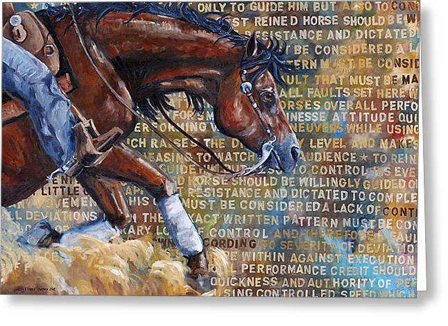 Slide Paintings Greeting Cards - To Rein a Horse Greeting Card by Sarrah Dibble-Camburn