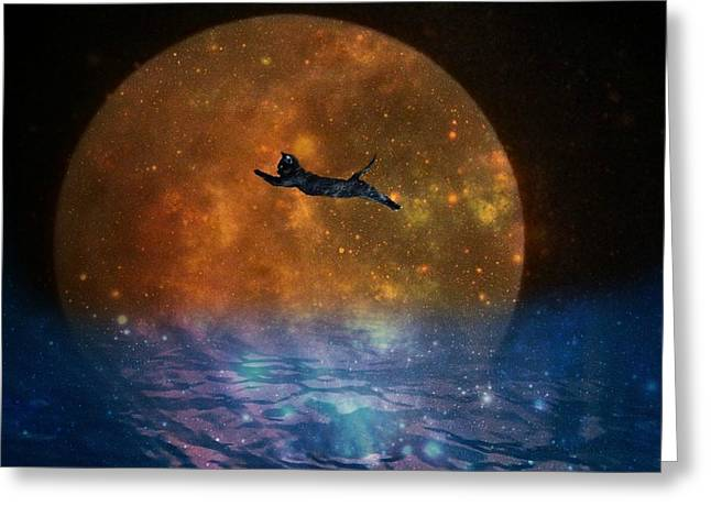 Abstract Nature Greeting Cards - To the Moon and Back Cat Greeting Card by Kathy Barney