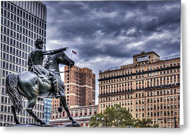 Streets Sculptures Greeting Cards - To The War Greeting Card by Wajih Ben taleb