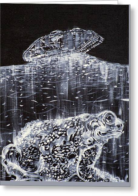 Toad And Mark V Tank Greeting Card by Fabrizio Cassetta