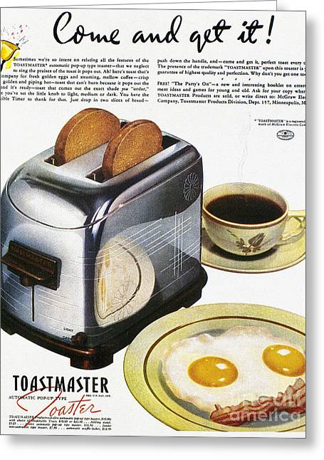Toast Greeting Cards - Toaster Ad, 1938 Greeting Card by Granger