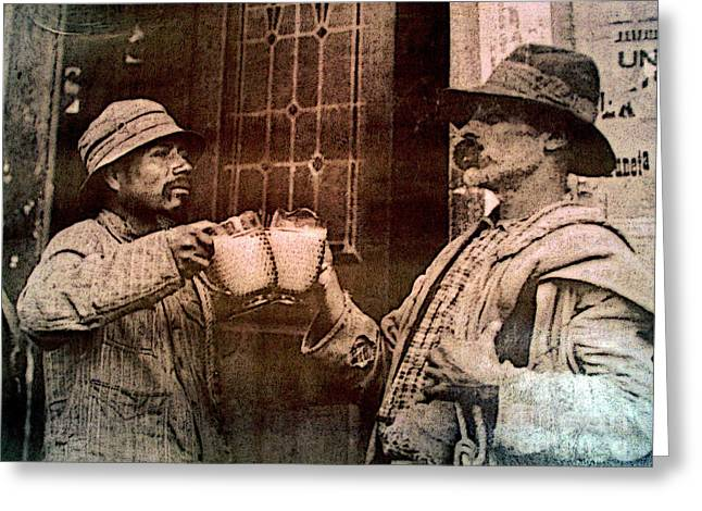 Men Drinking Greeting Cards - Toasting Success 2 Greeting Card by Olden Mexico