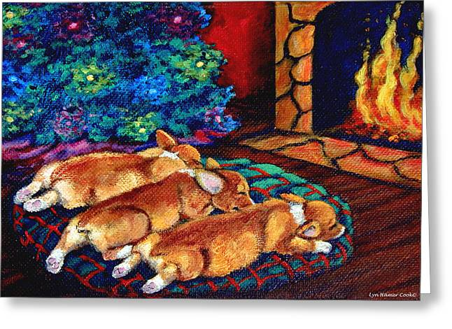 Puppies Greeting Cards - Toasty Toes Greeting Card by Lyn Cook