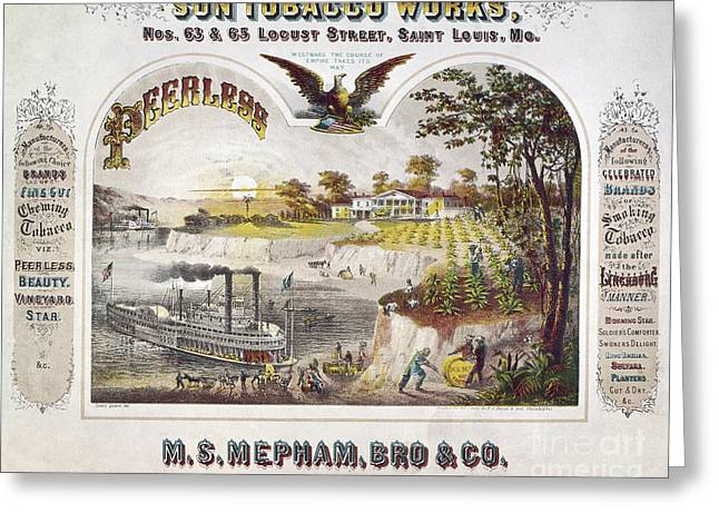 1860 Greeting Cards - TOBACCO AD, c1860 Greeting Card by Granger