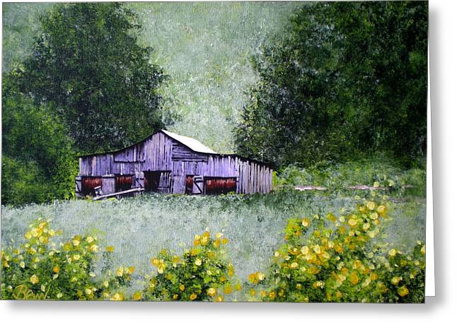 Tennessee Barn Greeting Cards - Tobacco Barn And Daisies Greeting Card by Bill Brown