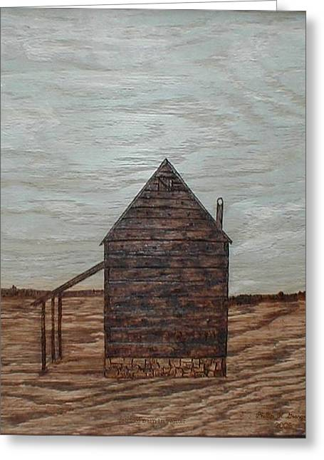 Folk Pyrography Greeting Cards - Tobacco Barn In Winter  Greeting Card by Phillip H George
