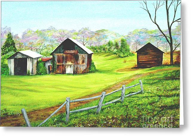 Tobacco Barns North Carolina Greeting Card by Pauline Ross