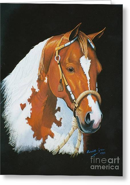 Coloured Pastels Greeting Cards - Tobiano Greeting Card by Louise Green