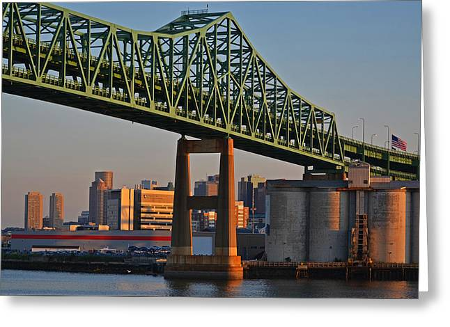 Chelsea Greeting Cards - Tobin Bridge American Flag Boston MA Greeting Card by Toby McGuire