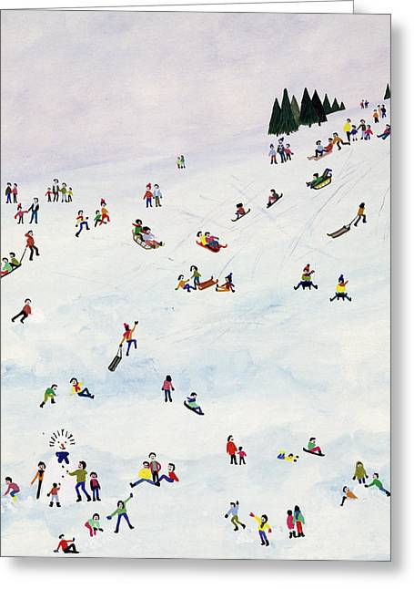 Skiing Christmas Cards Greeting Cards - Toboggan Or Not To Toboggan Greeting Card by Judy Joel