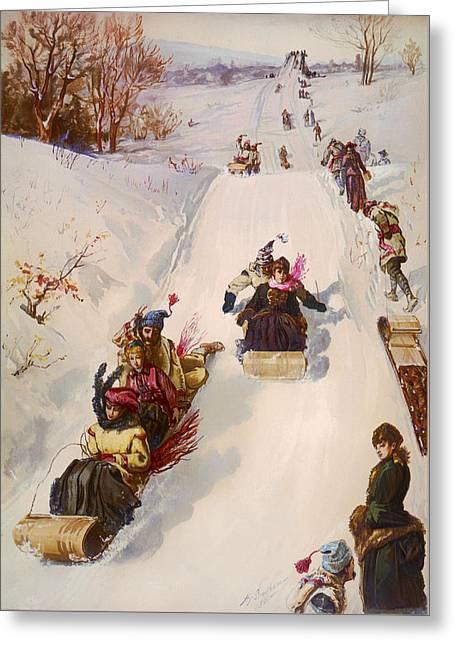 Slide Paintings Greeting Cards - Tobogganing  Greeting Card by Henry Sandham