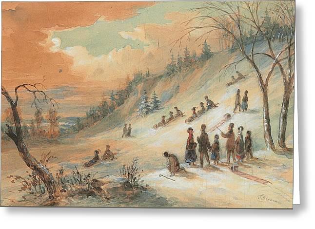 Tobogganning On A Hillside Greeting Card by James D Duncan